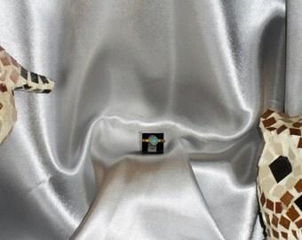 turquoise ring in vermeil. gemstone semi precious natural