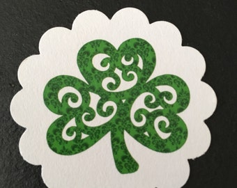Green Shamrock St. Patrick's Day or Irish Wedding Gift or Favor Tags - you pick quantity