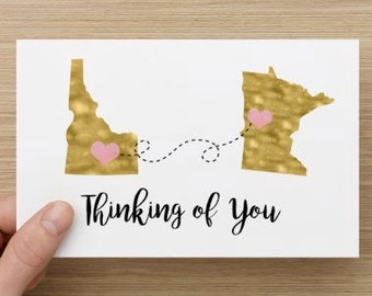 Thinking Of You Faux Gold Foil - Greeting Card