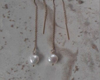 Freshwater Pearl Threader Earrings, wedding, bridal shower, bridesmaid jewelry