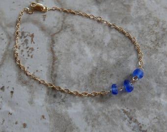 Royal Blue Beach Glass Bracelet
