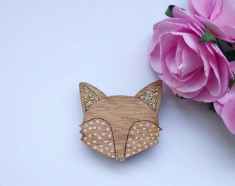 Fox brooch of wood & glitter