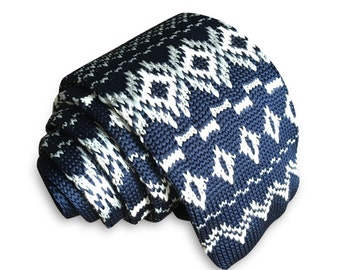 Mens Slim Woven Knitted Necktie by Poserclub - Navy