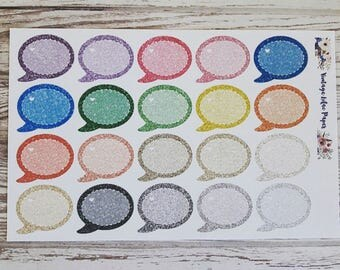 20 Glitter Speech Bubble Planner Stickers: Perfect for any size planner!