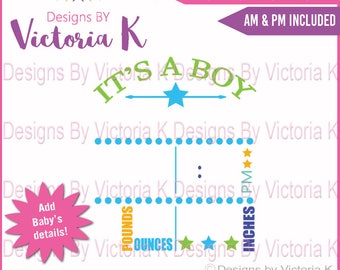 Birth Announcement, Baby svg, Subway art, Birth Details, SVG, DXF, EPS Files, Cricut Design Space, Vinyl cut Files