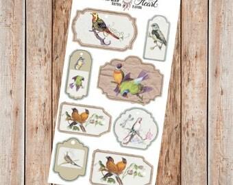 Vintage Bird Labels illustration planner stickers