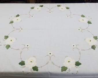Round Tablecloth. Embroidered Applique Tablecloth. White Linen Unused Vintage Tablecloth. Handmade Round Applique Linen Tablecloth  RBT1765