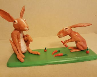 Bunny picnic. Totally unique hand sculpted figurine Sculpture