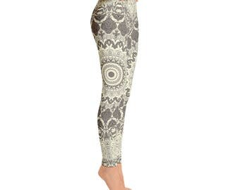 Mandala Yoga Pants in Cream and Brown - Womens Printed Leggings, Stretchy Yoga Pants, Fashion Leggings