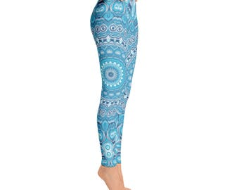 Leggings Yoga Blue - Mandala Yoga Tights, Printed Yoga Tights, Mandala Art Pants, Blue Leggings, Fashion Leggings, Womens Stretch Pants
