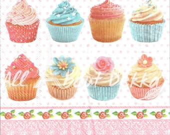 Party Design Decoupage Napkins Set of 4 - Cup Cake, Birthday party, Macaron Serviettes, Scrapbooking, Mixed Media, Paper Crafts Supplies