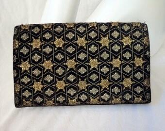 Zardozi Black Velvet Clutch Vintage Handbag Hand Embroidered in India