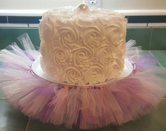 CAKE STAND TUTU Purple Lavender Silver Pink Cupcake Tulle Skirt Decorations Baby Shower Birthday Party