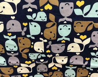 Blue whales & yelllow hearts fabric, under the sea fabric, nautical fabric, baby fabric, ocean fabric, whale fabric