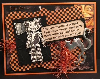 Halloween Card Pop Up Voodoo Doll CAT AX 3D Kitty Curse Quote Handsaw Graphic 45 OOAK Mixed Media Handmade