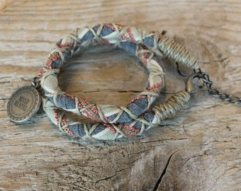 hemp bracelet, natural fabric bracelet, fabric double bracelet, charm bracelet, moost wanted,woven bracelet, braided bracelet