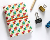 Traveler Notebook cover, Birds fabric, Traveler Notebook, Midori Traveler Notebook, Fabric Traveler Notebook, Geometric Printed, A6 Notebook