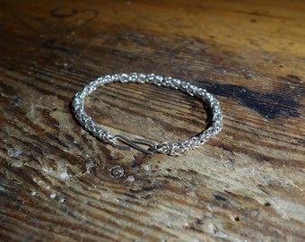 Bracelet sterling silver king chain byzantine pattern