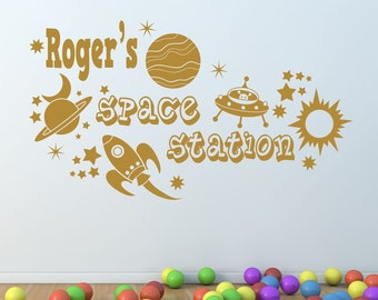 Space Station Personalised Self Adhesive Vinyl Wall Decal, Custom Wall Art Sticker, Decor For Bedroom,Nursery, Playroom -Any Name