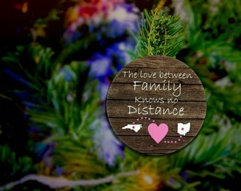 Long Distance Family Ornament The Love Between Family Knows No Distance Ornament Custom Ornament Long Distance Magnet CUSTOMIZABLE MAGNET