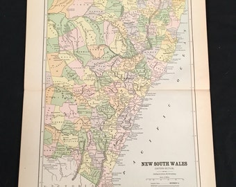 1885 Map of New South Wales, Australia, Original 9x11 Map, Antique Color Map