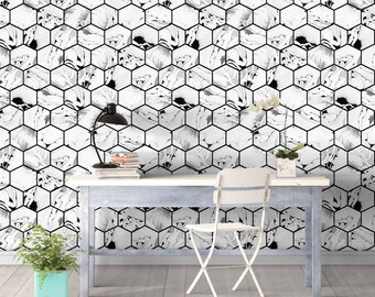honeycomb marble abstract wall covering art wallpaper removable self adhesive wallpaper - Wall Covering Designs