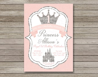 Princess Birthday Invitation, Princess Invitation, Pink Birthday Invitation, Pink and Silver Birthday Invitation, First Birthday Invitation