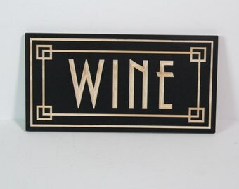 Art Deco Wine Sign Carved in Pine   Retro Style Wine Sign