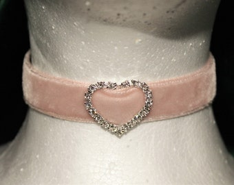 Collar - Baby Pink Diamond Heart velvet , choker, with webbing and d ring
