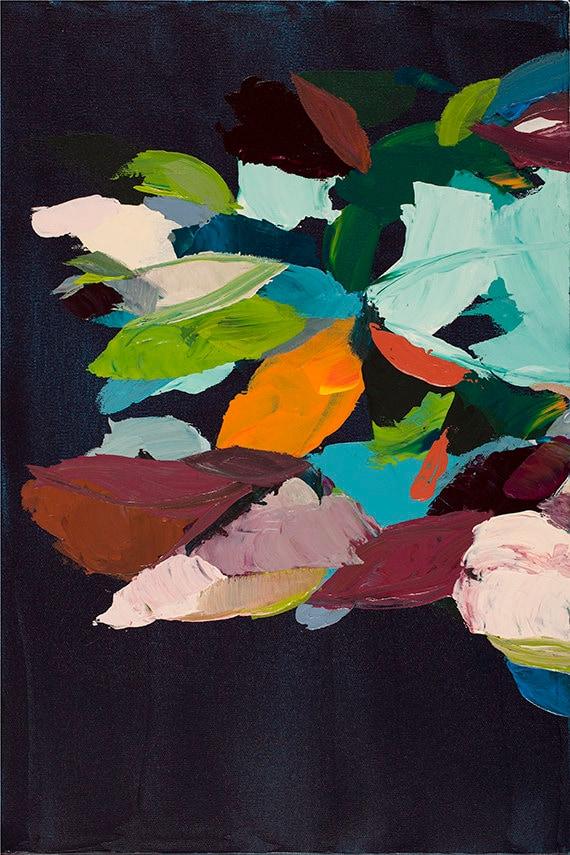 Modern Abstract Botanical Print - black, turquoise, orange
