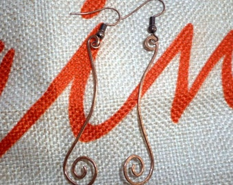 Hammered Copper Long Spiral Earrings