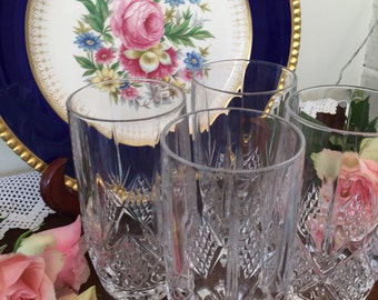 Set of Four Exquisite Lead Crystal Vintage Glasses/Hi-Ball Glasses/Iced Tea Glasses, Perfect