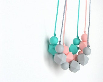 Teething Necklace for Mom, Toddler Teething Necklace, Chewlery, Chew Beads, Turquoise, Light Gray or Light Pink