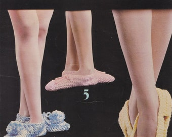 Slippers to Crochet & Knit, Leisure Arts Pattern Booklet 70 Oldie but Goodie