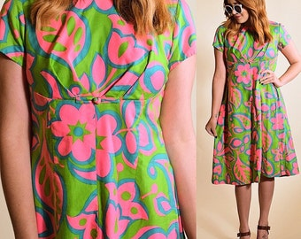 Vintage 1960's hawaiian psychedelic floral Polynesian cap sleeve midi length sun dress bright green pink and blue  women's size small