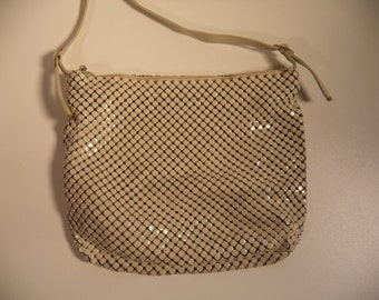 Mesh metal leather 80s evening bag// Elegant punk rocker disco holiday new years long strap shoulder handbag// Vintage Whiting Davis purse