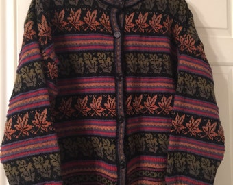 80s Vintage Wool Cardigan Sweater-Multi-Colored -xl
