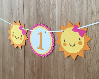 You Are My Sunshine First Birthday Party High Chair Banner in Pink - Girls Birthday, First Birthday