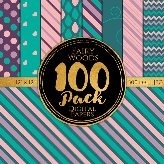 Digital Paper 100 Pack - Fairy Woods - Commercial Use, Fairy Woods Digital Patterns, Whimsical Digital Paper, Girly Digital Paper