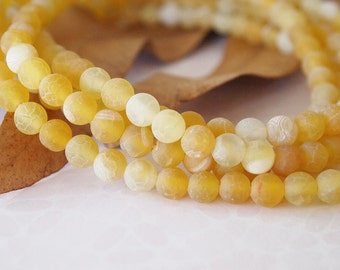 Strand Gemstone Agate Frosted Round Beads Colour Yellow Size 6mm Quantity 64 Beads