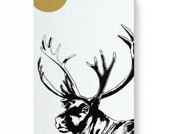 Digital art print of a reindeer on canvas, art print of caribou, art print of reindeer, white on white, white reindeer, white background