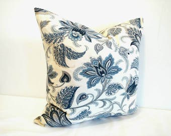 Floral pillow, blue floral pillow cover, Richloom blue pillow, floral decorative pillow, 18X18, 20X20, Richloom, Cottage decor, modern decor