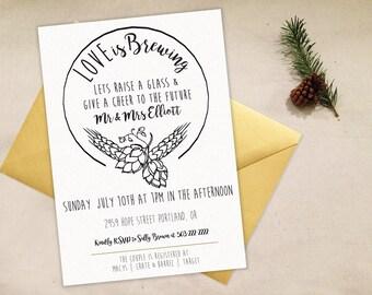 Wedding Shower Invitation, Love is Brewing, Minimal