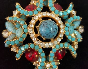 Vintage Turquoise and Red Colored Stone Brooch