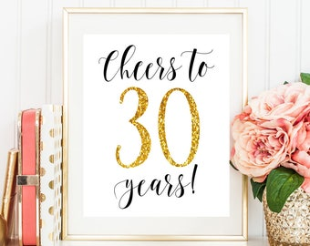 Cheers to 30 years 30 birthday decorations 30th birthday for her 30th birthday for him Happy 30th birthday sign 30th anniversary decorations