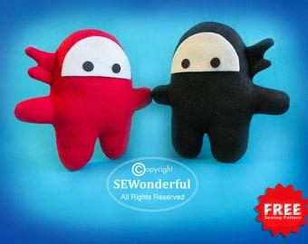 Ninja Plush Stuffed Animal Sewing Pattern PDF