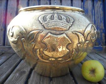 Victorian 19th Century Repousse Brass Armorial Jardiniere / Planter.