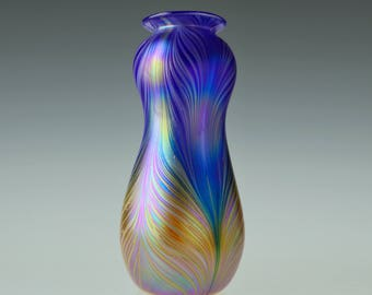 Gold Blue Iridescent Glass Vase. Hand Blown Art Glass.