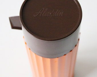 1970s Aladdin Thermos flask retro orange and brown plastic