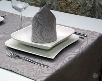 Luxury Silver Table Runner - Anti Stain Proof Resistant - Pack of 2 units - Ref. Lyon - Large hem